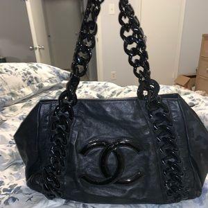 CHANEL Calfskin Rhodoid Bowler Bag